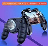 Six Finger All-in-One PUBG Mobile Game Controller Free Fire Key Button Joystick with Cool Fan Gamepad L1 R1 PUBG Trigger 3 type