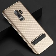TOTUDESIGN Slim Series for Samsung Galaxy S9/S9+ Carbon Fiber Texture TPU Protective Back Case with Holder (Gold)