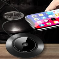 TOTUDESIGN 10W Black Gum Record Style Zinc Alloy + Aluminium Alloy Intelligent Qi Wireless Charger Charging Pad