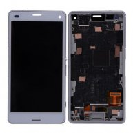 LCD Screen Display with Digitizer Touch Panel and Bezel Frame for Sony Z3 mini/ Z3 Compact D5803/ D5833(for SONY) - White