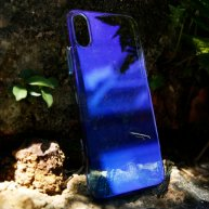 For iPhone X Hard PC Gradient Color Protective Case Cover(Blue)