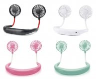 Portable Fans Hand Free Neckband Fans With USB Rechargeable 1200mA Battery Operated Dual Wind Head 3 Speed Adjustable Fan