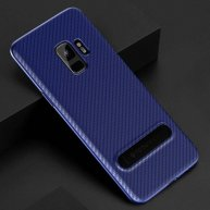 TOTUDESIGN Slim Series for Samsung Galaxy S9 Carbon Fiber Texture TPU Protective Back Case with Holder (Blue)