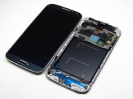 LCD Assembly with Touch Screen Digitizer + Middle Frame + Sensor Flex Cable for Samsung Galaxy S 4 IV I9505 - Blue