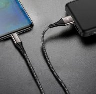 TOTUDESIGN BTA-019 2 in 1 DC 5V - 2.4A USB-C / Type-C Interface Charging + Transmission Two-color Braided Data Cable, Length: 1m