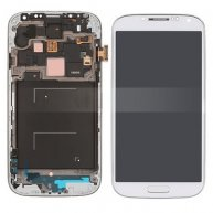 LCD Assembly with Touch Screen Digitizer + Middle Frame + Sensor Flex Cable for Samsung Galaxy S 4 IV I9505 - White