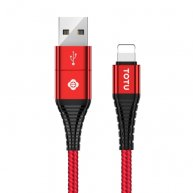 TOTUDESIGN Color Series 1.2m Nylon Braided Cord 2.4A 3 in 1 USB A + Type-C to 8 Pin Data Sync Charge Cable-Red