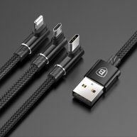 1.2m 3.5A Braided 3 in 1 L-type Micro USB + 8 Pin + Type-C Fast Charge Data Syn Cable