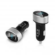 OIYEA Dual USB Car Charger Digital LED Display 5V 2.4A Aluminium Alloy Fast Charging Voltage Monitoring For iPhone Samsung