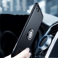For iPhone 8 & 7 Magnetic Car Mount Wireless Charging Case with Ring Holder(Black)