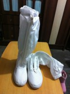 Anti-static ESD PVC Sleeve Shoes Cleanroom Boots Antistatic Work Shoes - white