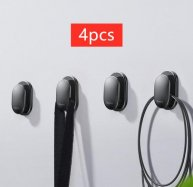 Baseus 4Pcs Car Hooks Organizer Storage for USB Cable Headphone Key Storage Self Adhesive Wall Hook Hanger Auto Fastener Clip