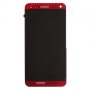 LCD Screen and Digitizer Assembly with Front Housing For HTC One - Red