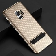 TOTUDESIGN Slim Series for Samsung Galaxy S9 Carbon Fiber Texture TPU Protective Back Case with Holder (Gold)