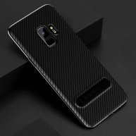 TOTUDESIGN Slim Series for Samsung Galaxy S9 Carbon Fiber Texture TPU Protective Back Case with Holder (Black)