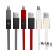 WK NEW Style 2 in1 Metal USB Charger Data Sync Cable For iPhone 5/5S/5C/6S/6S Plus/Android