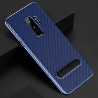 TOTUDESIGN Slim Series for Samsung Galaxy S9/S9+ Carbon Fiber Texture TPU Protective Back Case with Holder (Blue)