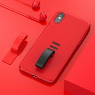 Baseus for iPhone X PC + Silicone Removable Ring Tail Shockproof Protective Cover Case (Red)