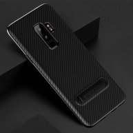 TOTUDESIGN Slim Series for Samsung Galaxy S9/S9+ Carbon Fiber Texture TPU Protective Back Case with Holder (Black)