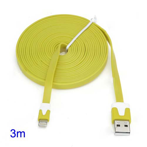 discount 3M Two-tone Noodle USB Sync Data Charger Cable iPhone 5 iPad 4 iPad Mini iPod Touch 5 Nano 7 - White / Yellow