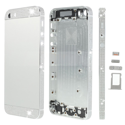 discount White Diamond Sides & Top & Bottom Metal Full Housing for iPhone 5s w/ Small Parts - Silver