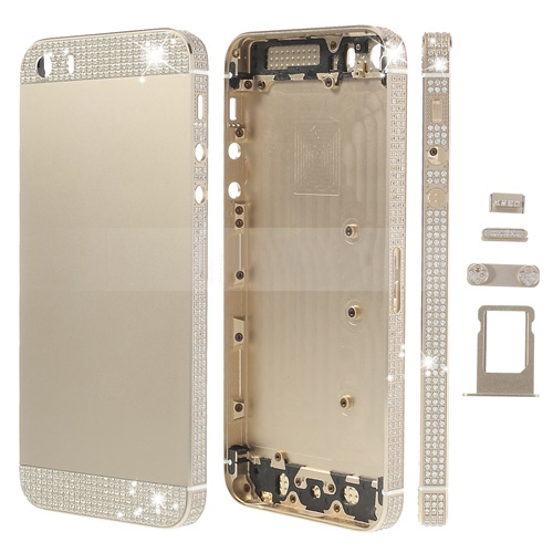 discount White Diamond Sides & Top & Bottom for iPhone 5s Metal Full Housing w/ Small Parts - Champagne Gold