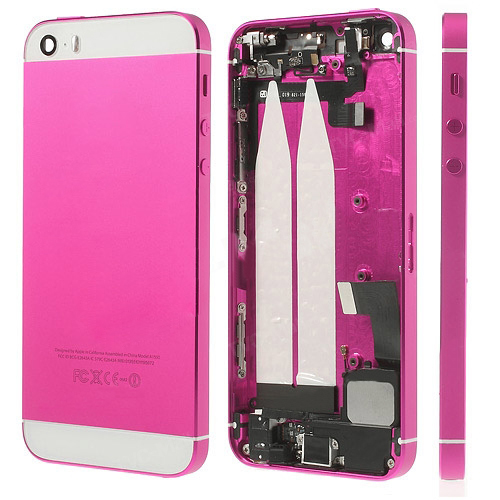 discount Metal Back Housing Faceplate Assembly for iPhone 5s w/ Other Parts - White / Rose