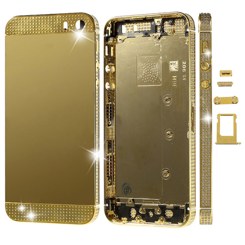 discount Deluxe Diamante Gold Full Housing Faceplates for iPhone 5s w/ Buttons SIM Card Tray