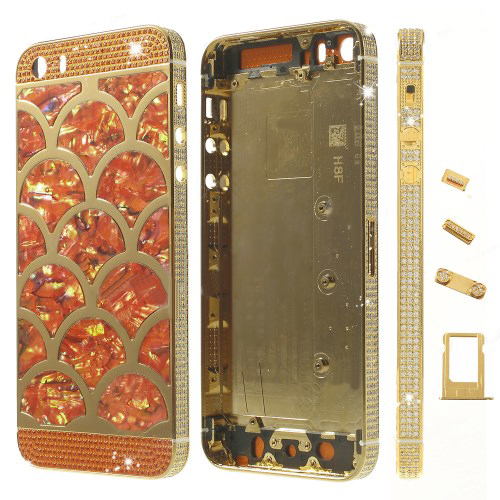 discount Half Circle Waves Diamond Metal Back Housing Faceplates for iPhone 5s w/ Small Parts - Orange