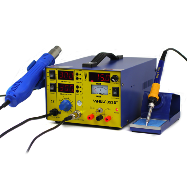 discount YIHUA YH-853D+ SMD Soldering  station, rework stations ,hot air gun , solder iron,with power 3 in 1  220v