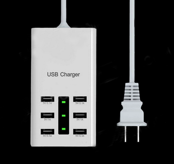 discount Universal 6-Port USB Charger w/ Switch / Indicator for Cellphone + More (EU Plug / 110~240V)