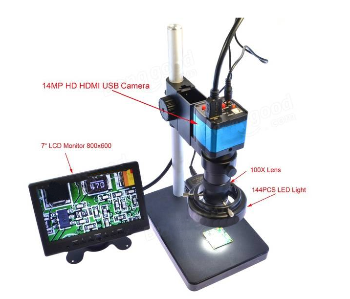 14MP HDMI HD USB Digital Industry Video Microscope Camera Set with Big Boom Stereo Table Stand-LCD display 10 inch