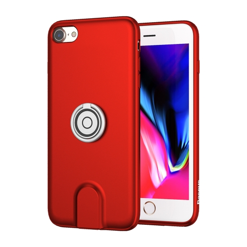 For iPhone 8 & 7 Magnetic Car Mount Wireless Charging Case with Ring Holder(Red)