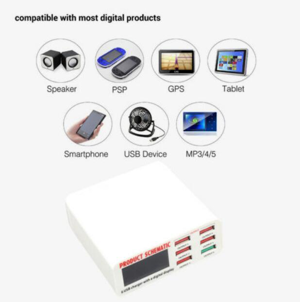 6A with LCD Digital Display 6 Port USB Charger Fast Smart Charging Station for Smart Phone Tablet PC