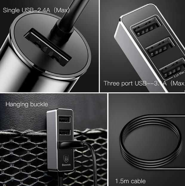 Baseus 4 Ports USB Car Charger Multiple Expander Car-charger Adapter Fast Charge Mobile Phone For iPhone Samsung etc.
