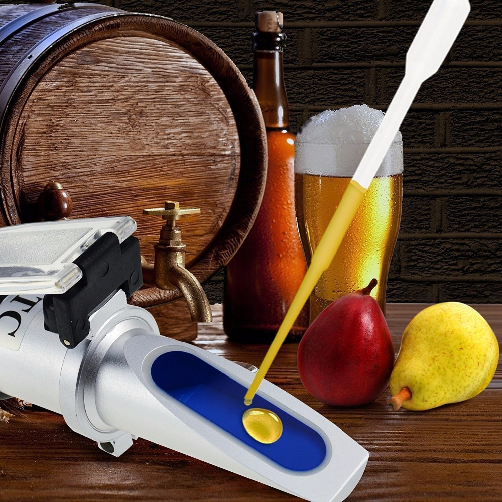 Refractometer Beer Wort Wine Brix Refractometer ATC SG 1.000-1.130 & Brix 0-32%, for Refractometer Sugar Wine Beer Fruit