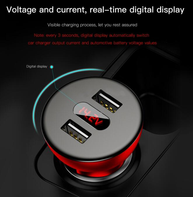 Baseus CCALL-YT09 4.8A 360 Degrees Free Rotation Shake Head Design Dual USB Digital Display Quick Charger Car Charger-Red