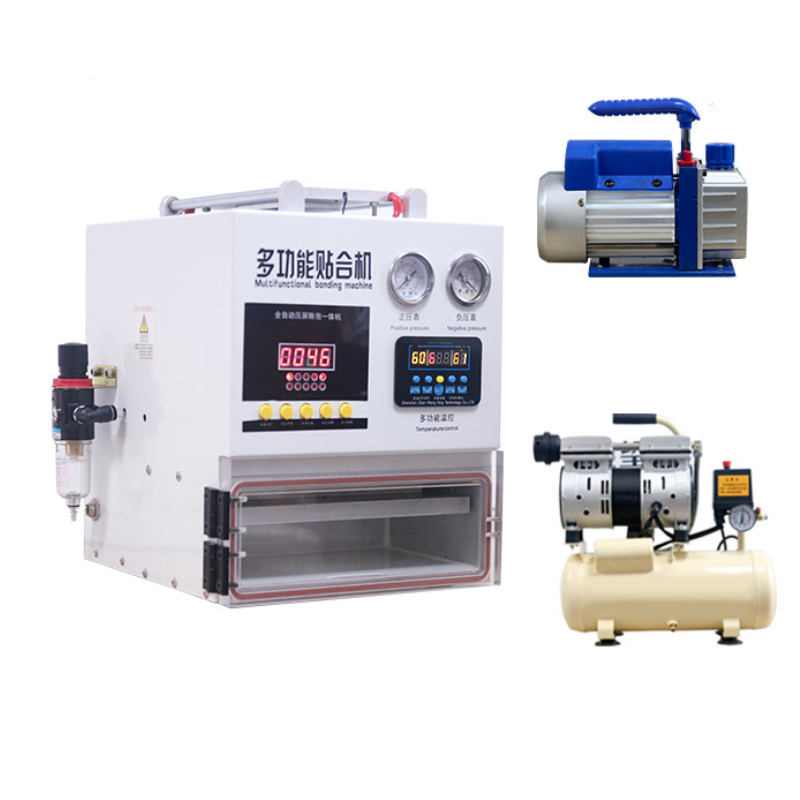 3 in 1 lcd laminating machine with air compressor vacuum pump
