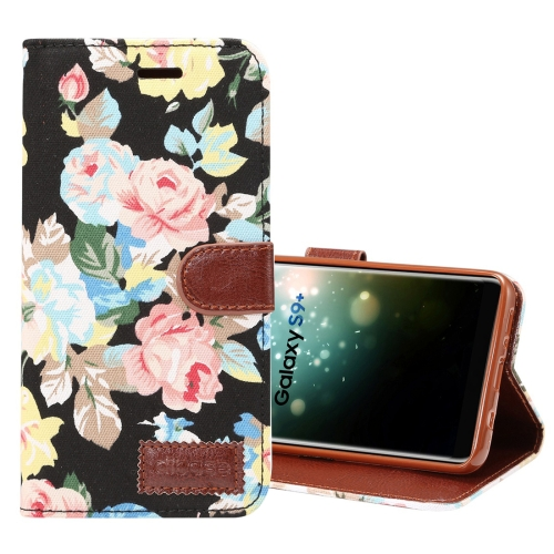 Dibase for Samsung Galaxy S9+ Cloth Flower Pattern TPU + PU Horizontal Flip Leather Case with Holder & Card Slots