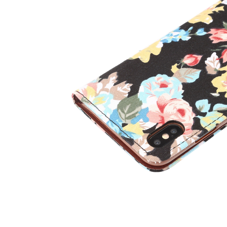 Dibase Flower Pattern Horizontal Flip PU Leather Case for iPhone XS Plus, with Holder & Card Slot