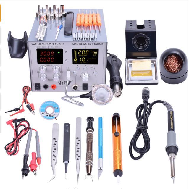 4 in1 Digital SMD 30V-5A DC Power Supply 110V / 220V BGA Auto Hot Air Gun  Rework Station Soldering Iron Station with Tools