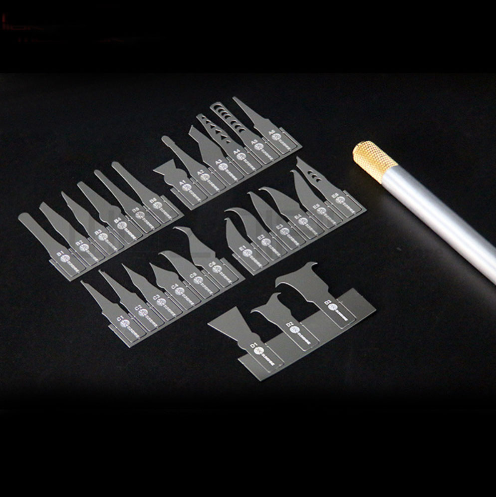 SS101A mobile phone Repairs Disassemble NAND IC CHIP Knife 27 Blade + Handle for IPhone x 8 7 Motherboard Warping Knife Shovel G