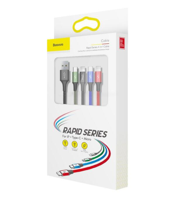 1.2m Baseus 4 in 1 Rapid Series 3.5A USB to 2 x 8Pin + USB-C / Type-C + Micro USB Cable