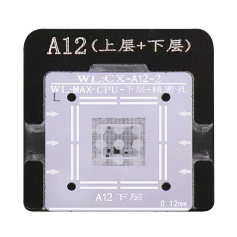 WL High-Quality A12 CPU Upper/Lower Reballing Stencil With Fixed Plate