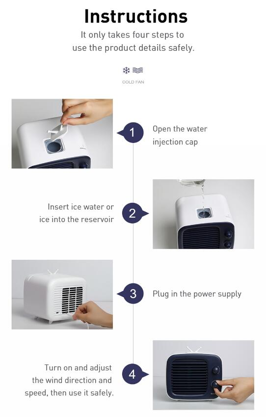 USB Fan Mini Air Cooler Fan Portable Air Conditioner Humidifier Purifier 3 Gear Desktop Air Cooling Fan For Office Home