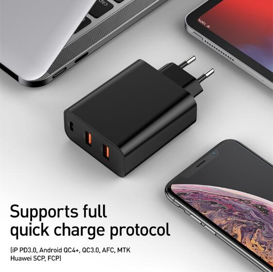 45W+15W Baseus PPS Quick Charge 4.0 USB Phone Charger QC 4.0 3.0 Quick Charge PD 3.0 Fast Charger for iPhone/Samsung(EU Plug)