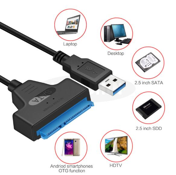 5PCS Sata USB Cable Adapter Suport 2.5 Inches External SSD HDD Hard Drive 22 Pin Sata III Cable USB Sata 3.0 Adapter