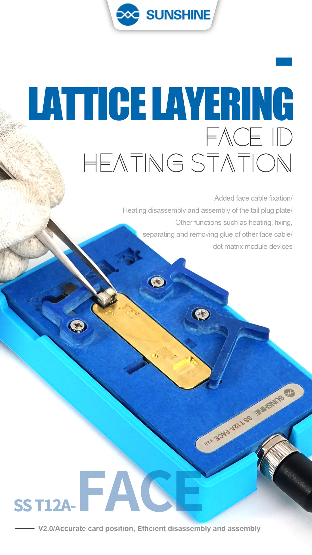 T12A-FACE ID V2.0 Heating Groove For iPhone X XS MAX Face ID cable distance sensor Desoldering Repair